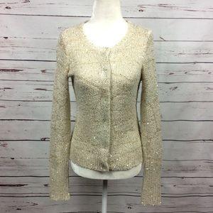 [Simply Vera VW] Cardigan Sweater, Gold/Ivory